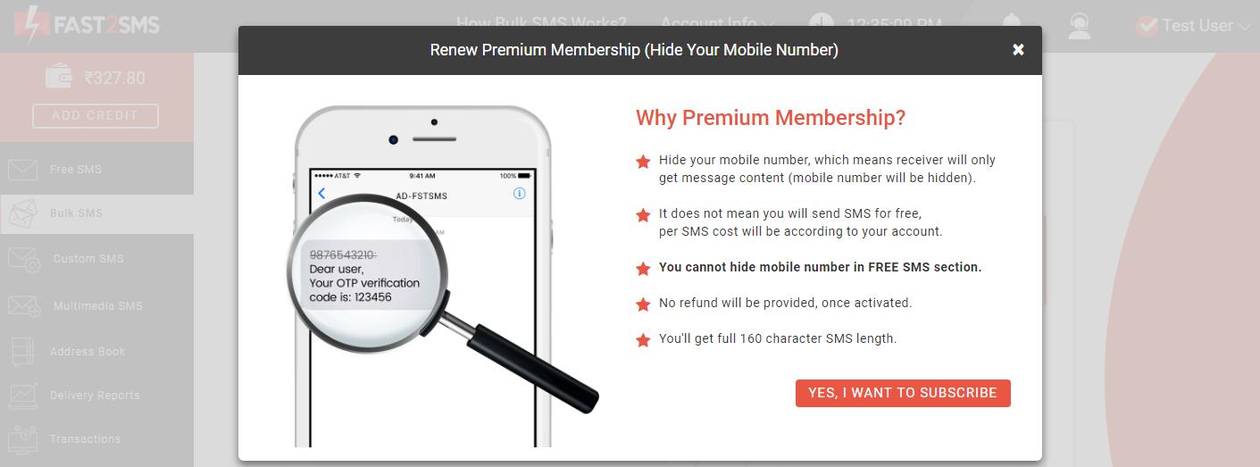Premium membership subscription