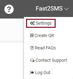 Settings option in Fast2SMS