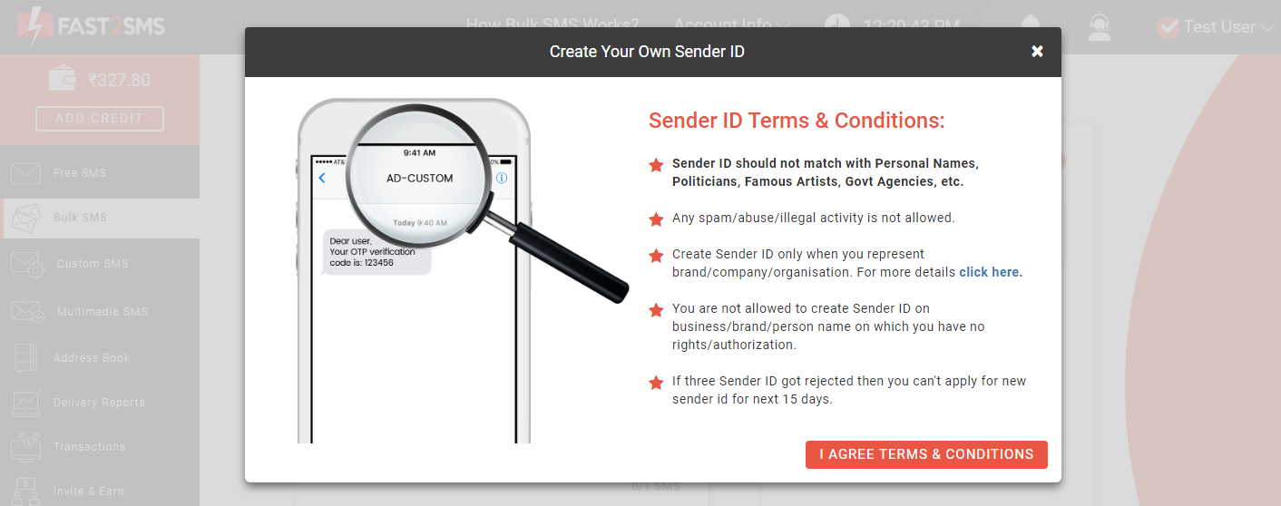 Sender ID terms and conditions