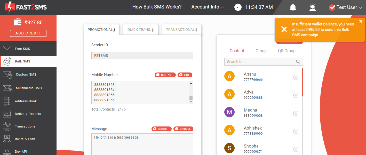 Insufficient wallet balance in Fast2SMS wallet
