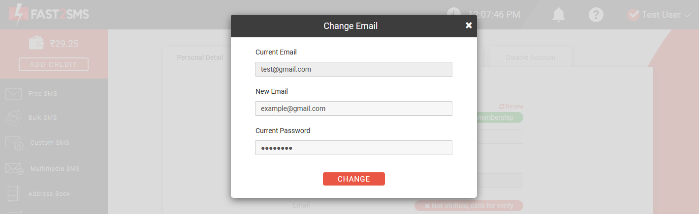 how to change email address in Fast2SMS?