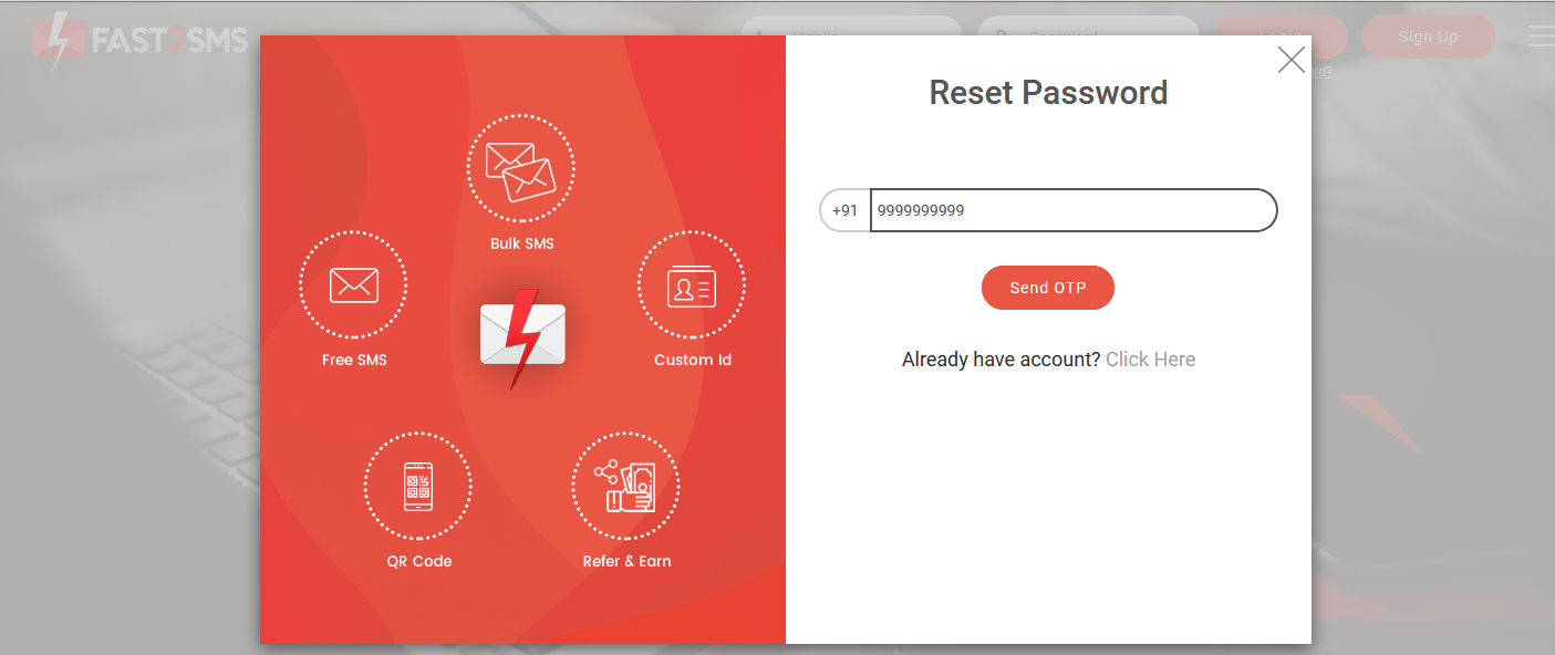 how to reset password in Fast2SMS?