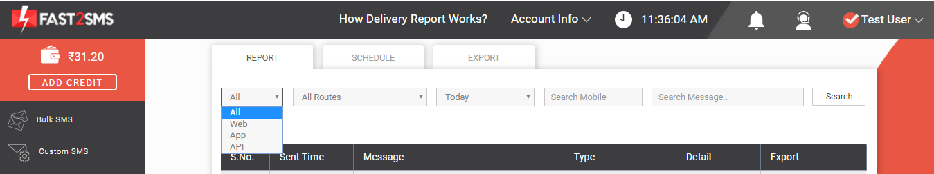 All SMS delivery report