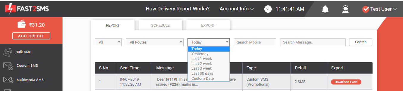 Delivery report, today