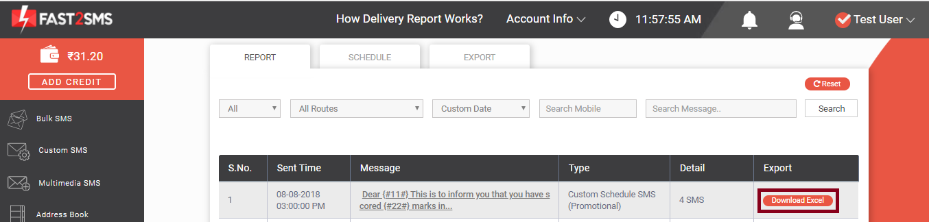 Download delivery report of a single message