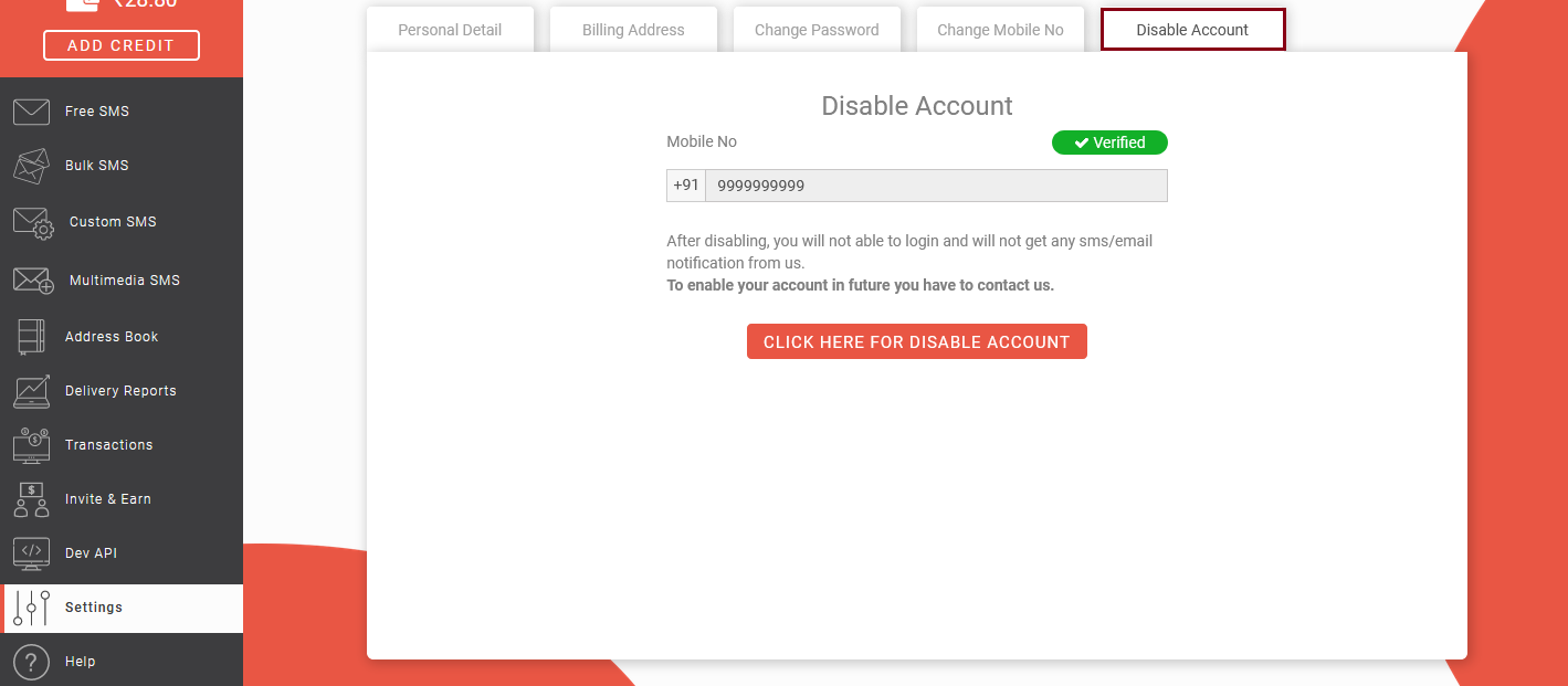 How to disable account?