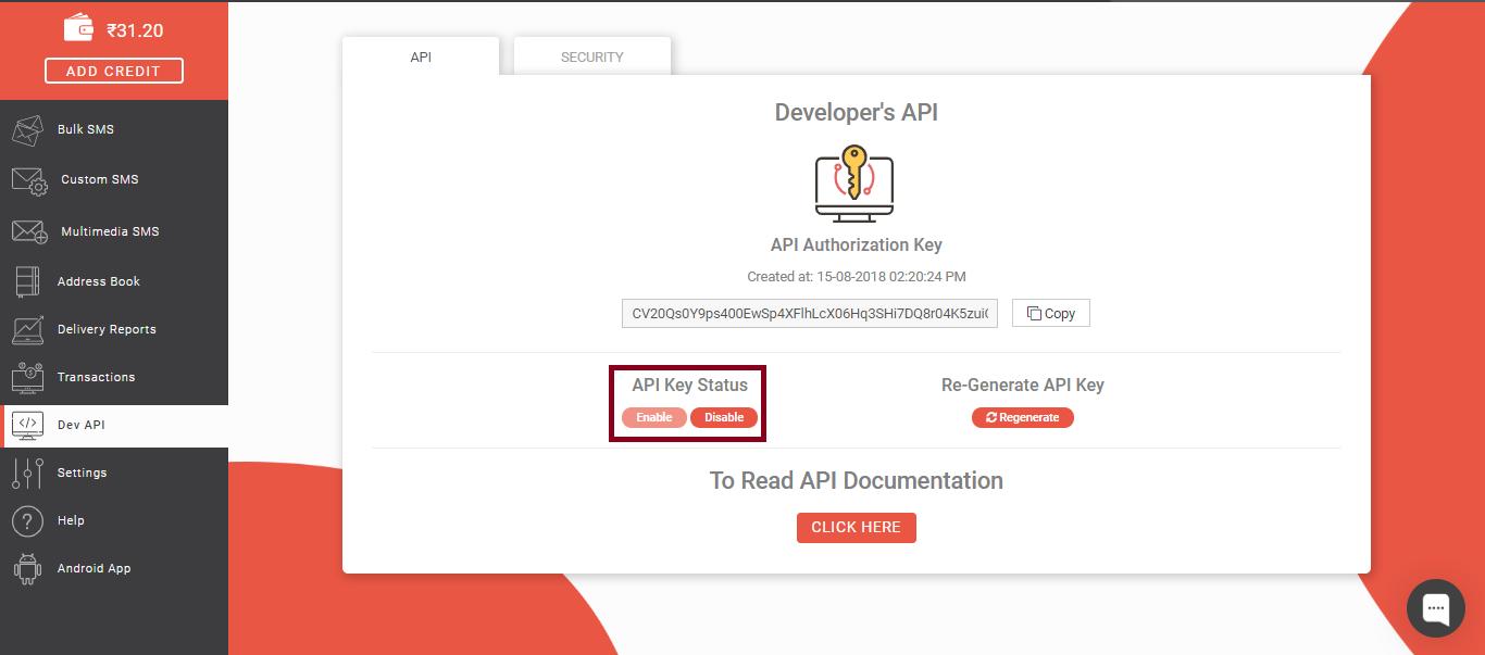 API key status