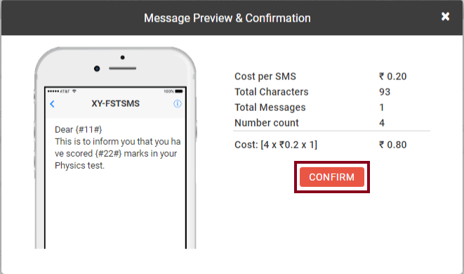 Confirm box Custom SMS