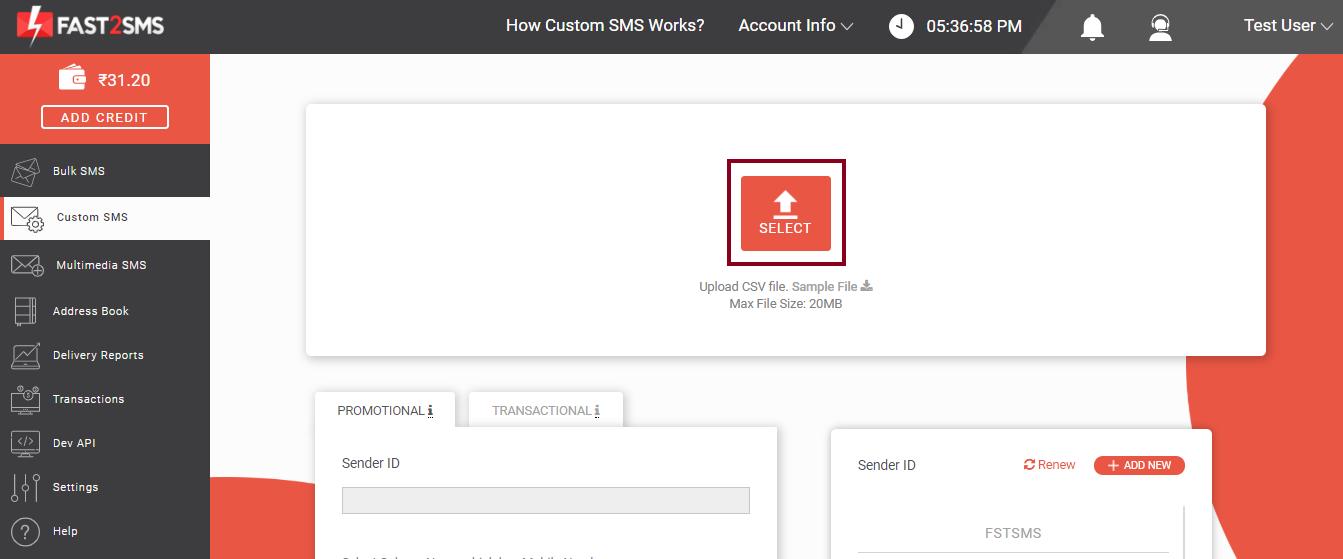 Custom SMS CSV File