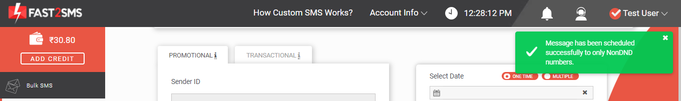 Message scheduled Custom SMS