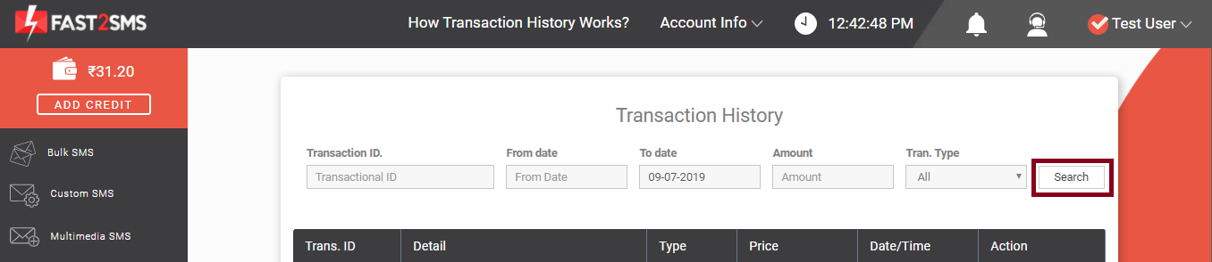 Transaction history, search