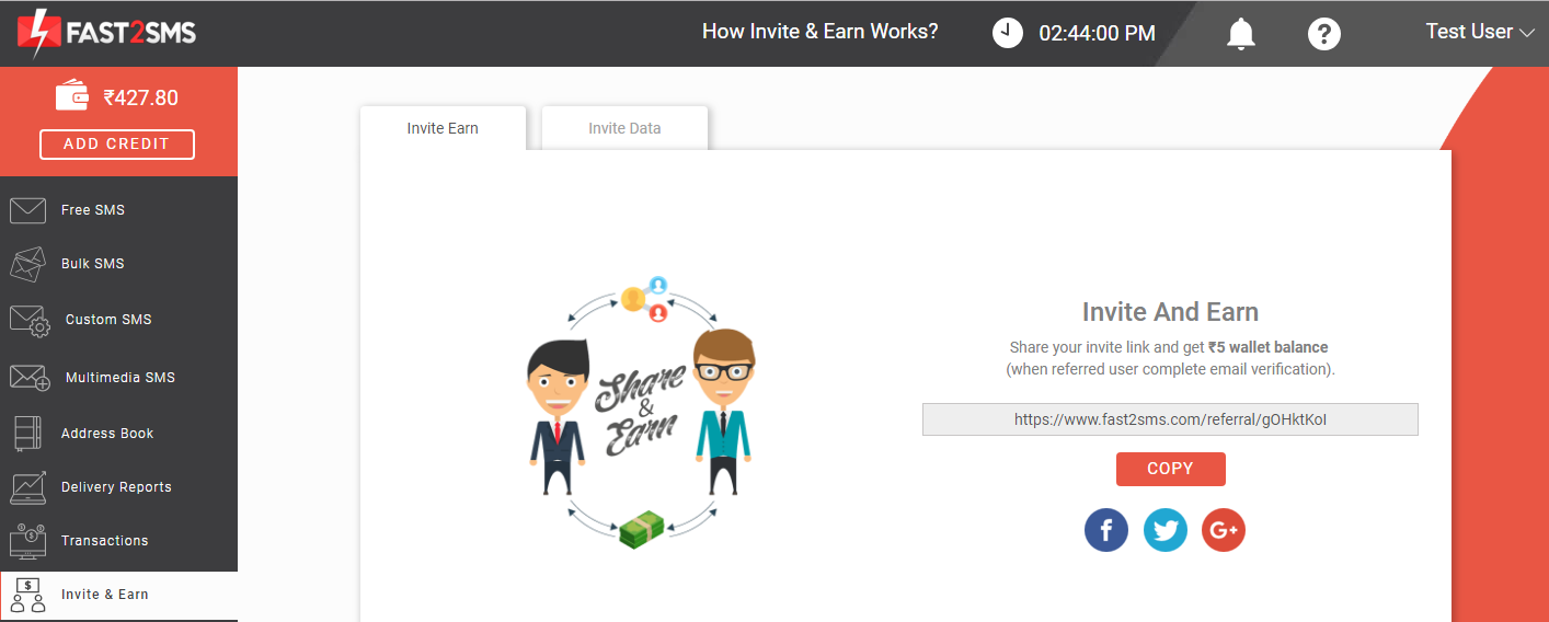 Invite and earn