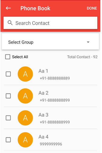 Add multiple contacts from the phone book