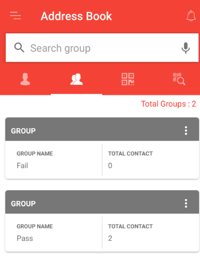 Contacts added in the group pass