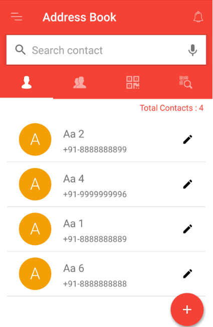 Contacts displayed in address book after editing