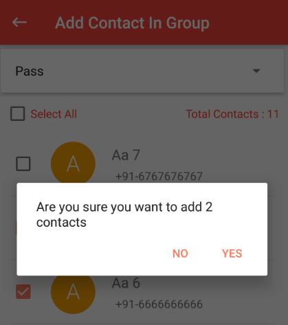 Confirmation to add contacts