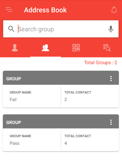 contacts added from the app