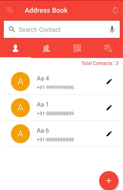 Contacts in address book