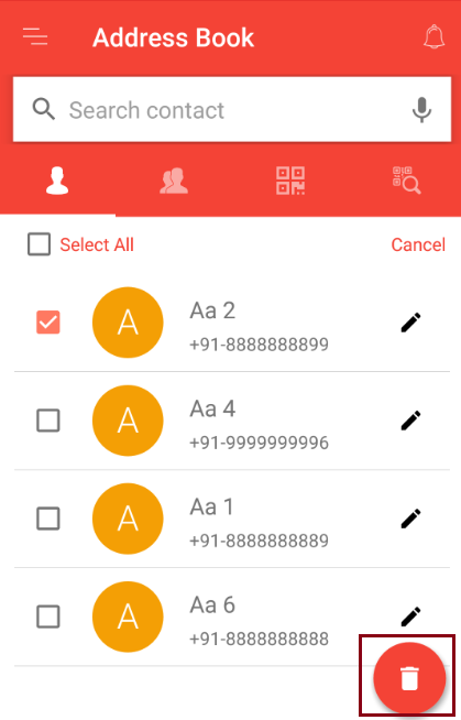 Delete contact in address book