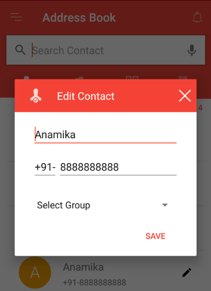 Editing contact name in address book