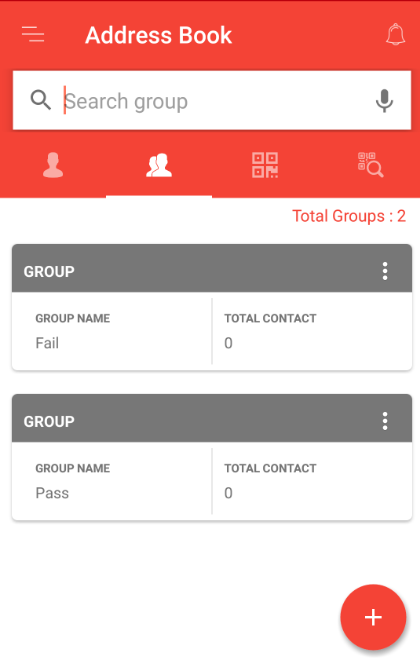 Groups created in the address book