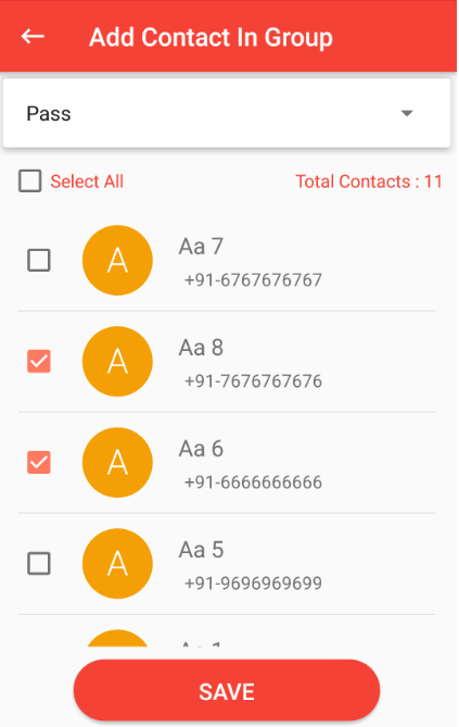 more contacts added in group