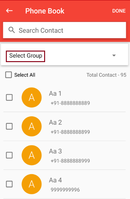 Add contacts from phone book