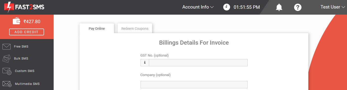 Billing details in Fast2SMS