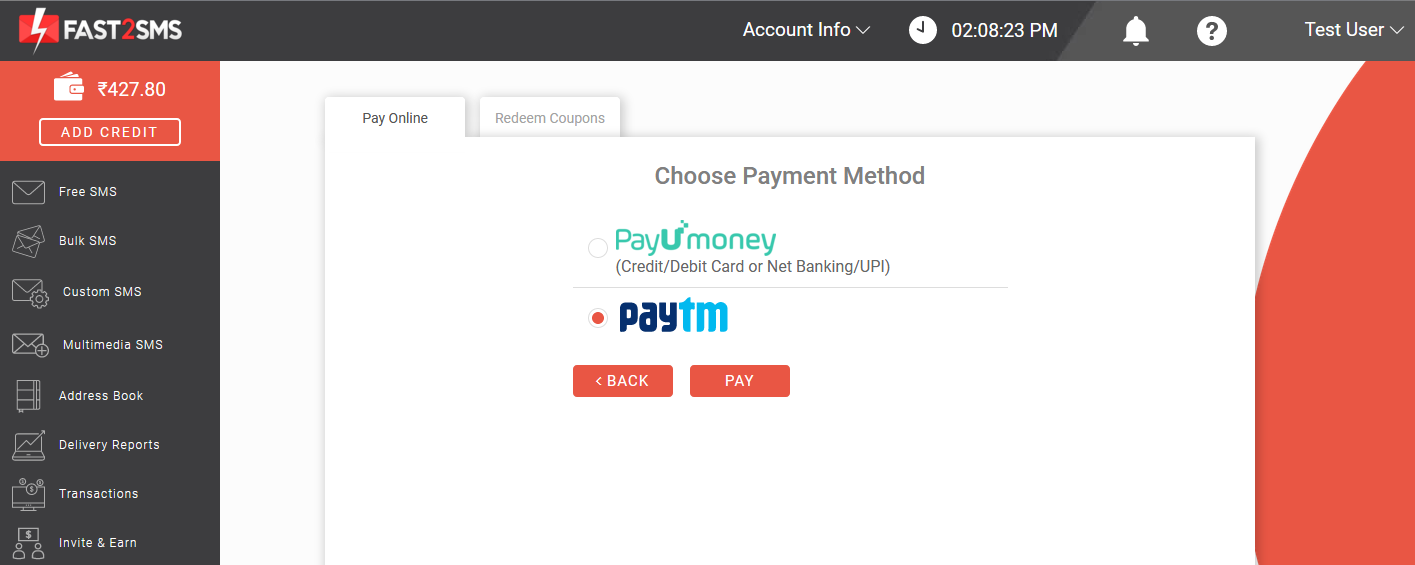 Paytm for adding credit in Fast2SMS