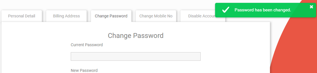 Password changed after sign up