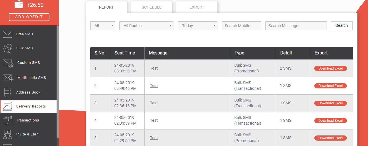 Delivery Report Panel in Fast2SMS