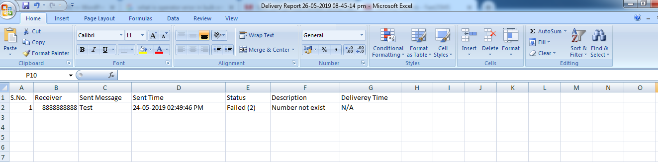 Delivery report in excel sheet