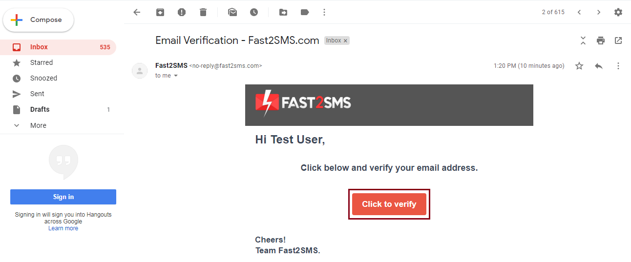 Email verify in Fast2SMS