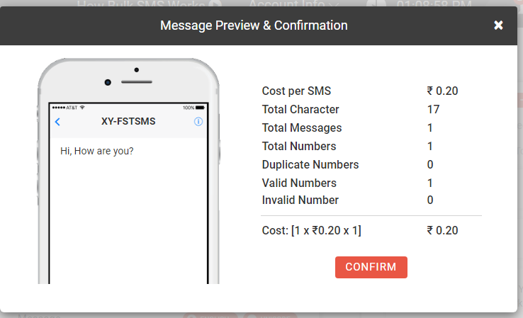 Preview of SMS in Fast2SMS