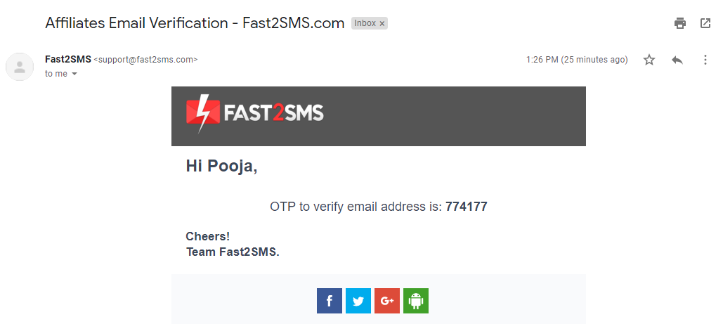 Email verification in gmail