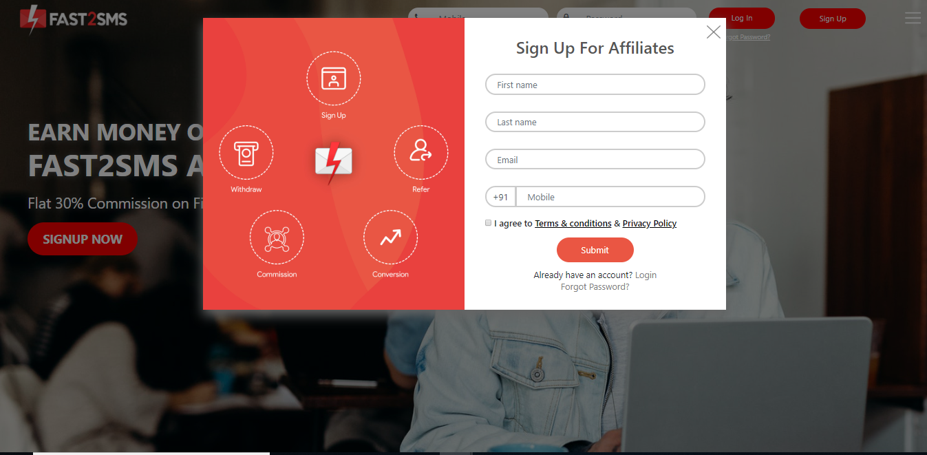Signup Affiliates page