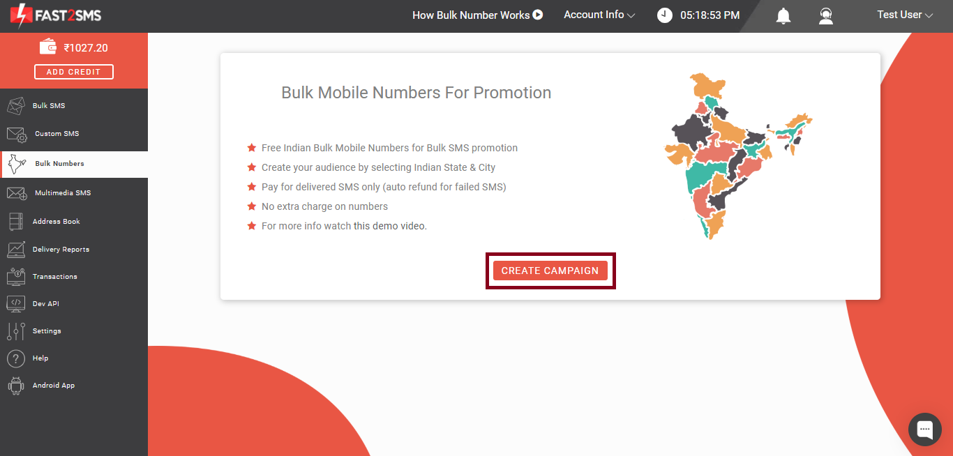 Create campaign button, Bulk Indian Mobile Number Database For Promotional Bulk SMS