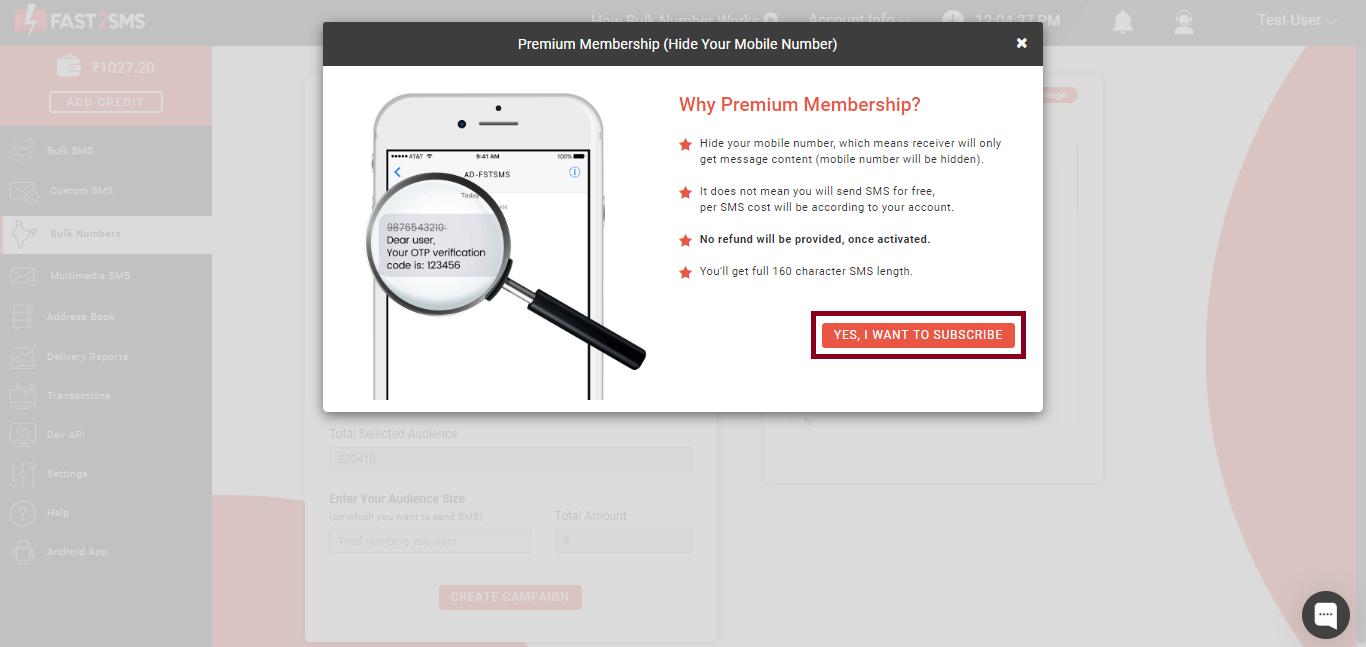 Subscribe premium membership