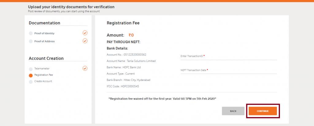 Registration payment page DLT