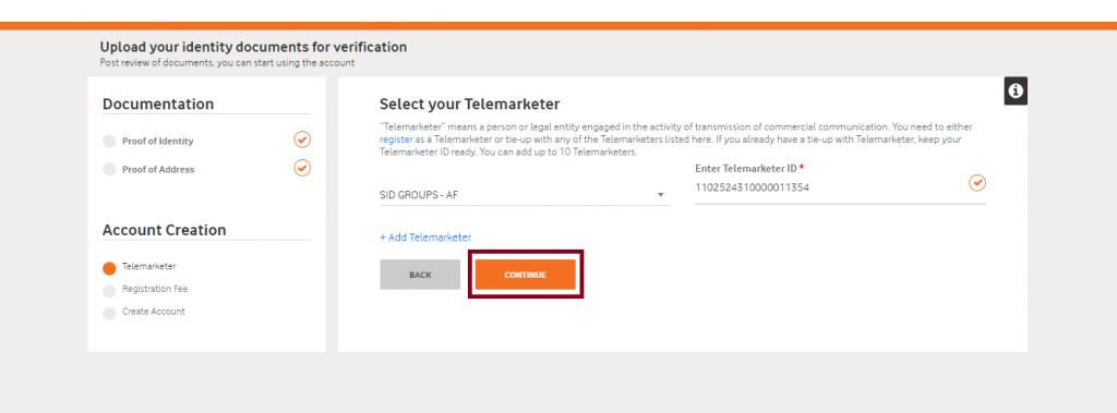 Telemarketer id verified vodafone DLT