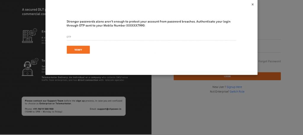 Vodafone DLT OTP verify login