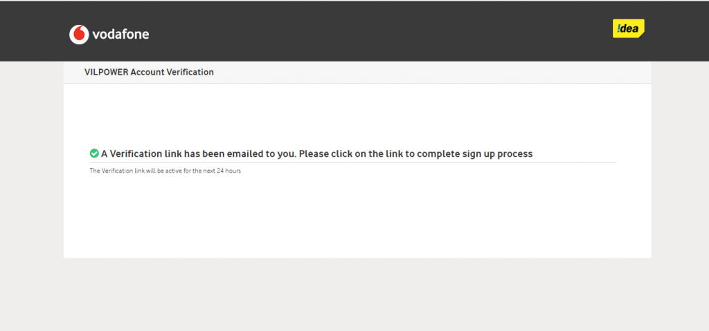 Vodafone DLT email verification