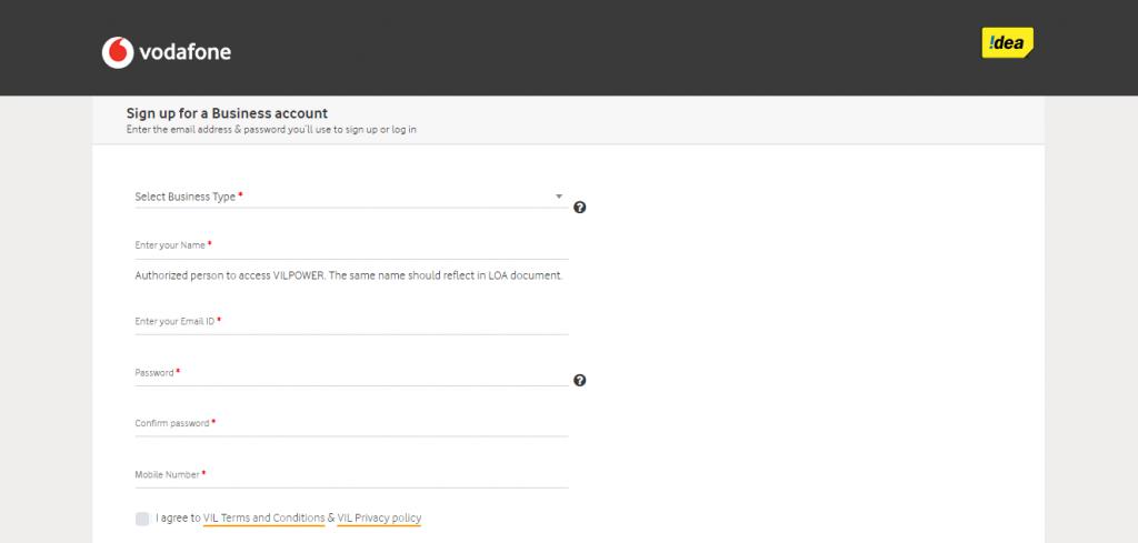 Vodafone Idea DLT Enter name page