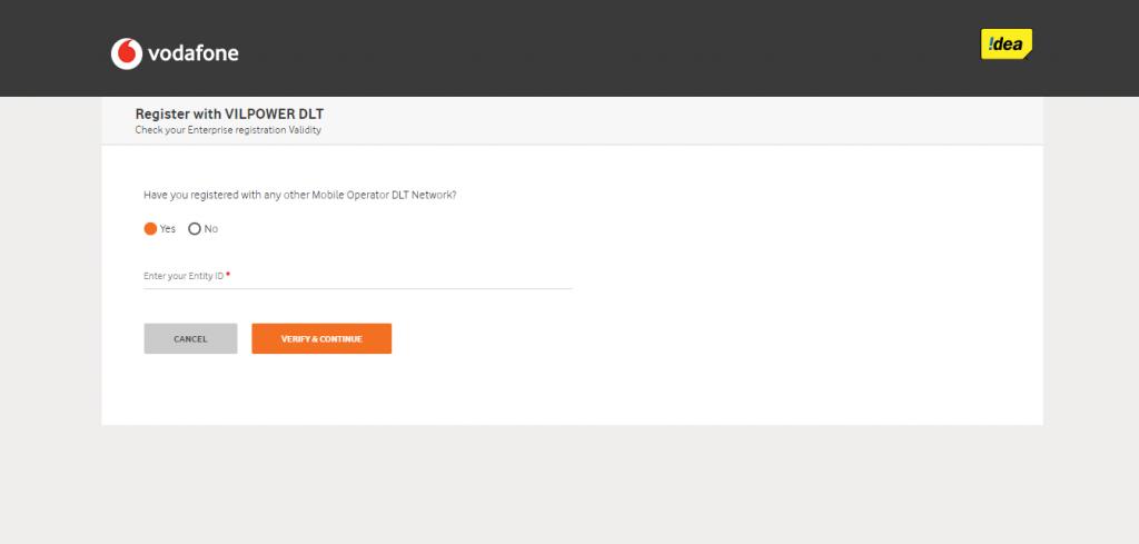 Vodafone Idea DLT entity enter page