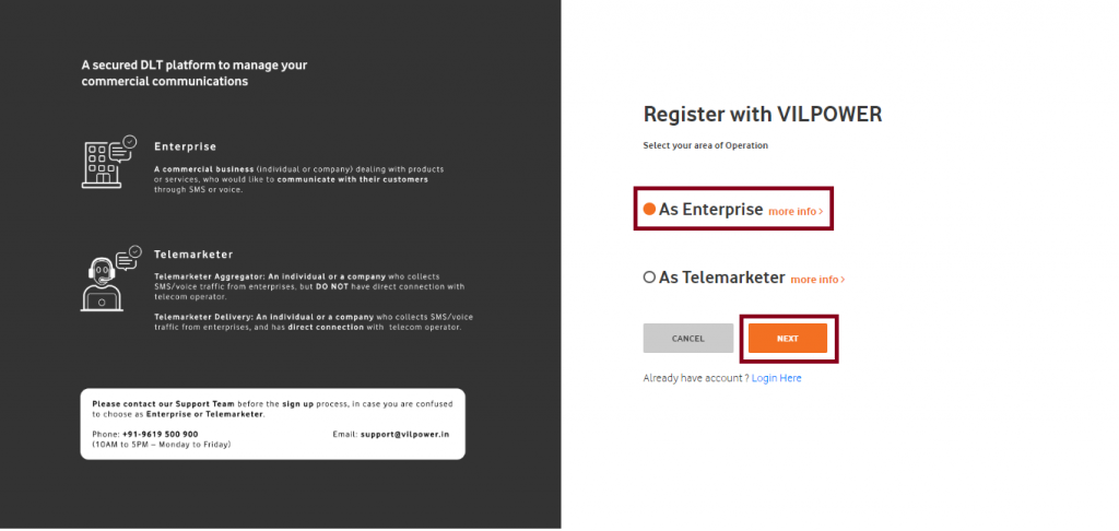 Vodafone Idea DLT register as enterprise