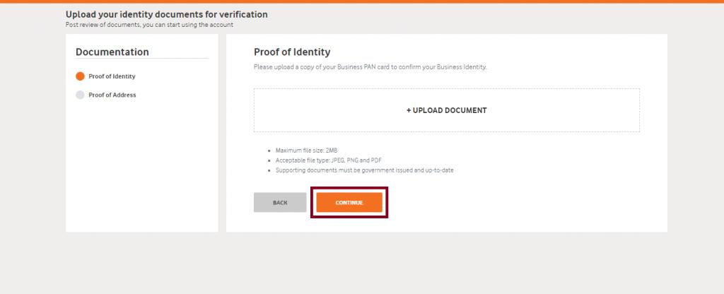 Vodafone identity proof upload
