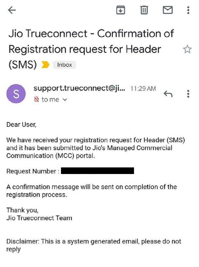 Jio confirmation email of header registration request