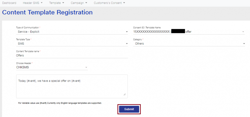 Content Template registration submit