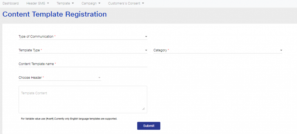 Content template registration page