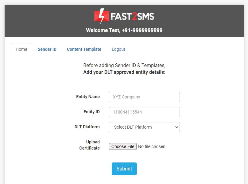 Dashboard DLT Fast2SMS
